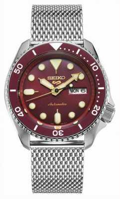Seiko 5 sport   hommes   bracelet en maille d'acier   cadran rouge   automatique   SRPD69K1