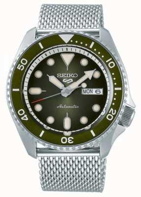 Seiko 5 sport | hommes | bracelet en maille d'acier | cadran vert | SRPD75K1