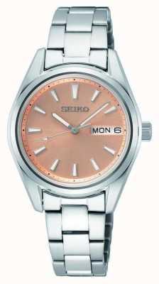 Seiko Bracelet à quartz en acier inoxydable pour femme Cadran en or rose SUR351P1