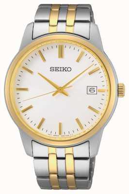 Seiko Quartz pour hommes | bracelet en acier bicolore | cadran argenté SUR402P1