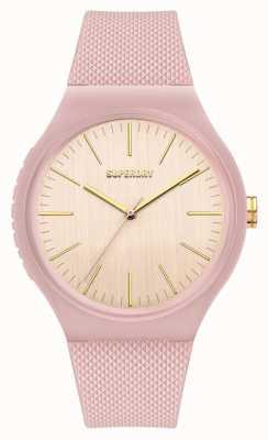 Superdry Bracelet en silicone rose pâle au toucher doux | cadran blanc cassé SYL344P