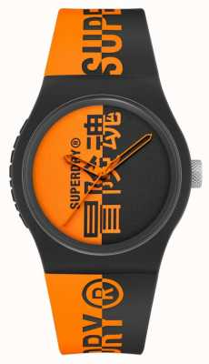 Superdry Bracelet souple en silicone imprimé noir et orange | cadran imprimé orange SYG346BO