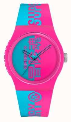 Superdry Bracelet doux au toucher en silicone imprimé aqua rose | cadran imprimé aqua SYG346AUP
