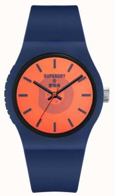 Superdry Bracelet en silicone bleu marine au toucher doux | cadran semi-transparent orange SYG347UO