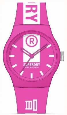 Superdry Bracelet en silicone doux au toucher imprimé rose et blanc | cadran imprimé blanc SYL348P