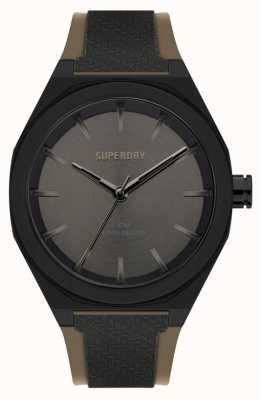 Superdry Bracelet en silicone noir doux au toucher | cadran soleillé gris bronze SYG349B