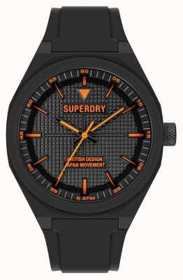 Superdry Cadran noir en silicone noir doux au toucher SYG324B