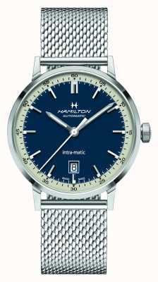 Hamilton Classique américain | intra-matic | bracelet en maille d'acier | cadran bleu H38425140