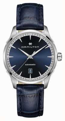Hamilton Jazzmaster | auto | bracelet en cuir bleu | cadran bleu H32475640