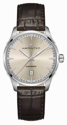 Hamilton Jazzmaster | auto | bracelet en cuir marron | cadran champagne H32475520