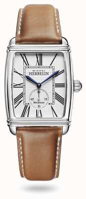 Michel Herbelin Art déco | automatique | bracelet en cuir marron cadran argenté 1938/08GO