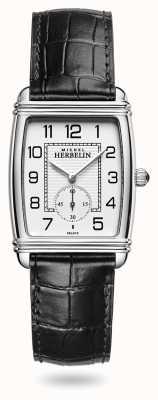 Michel Herbelin Femmes | art déco | cadran argenté | bracelet en cuir noir 10638/22