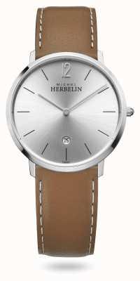 Michel Herbelin Ville | bracelet en cuir marron | cadran argenté 19515/11GO
