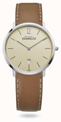 Michel Herbelin Ville | bracelet en cuir marron | cadran champagne 19515/17NGO
