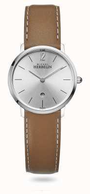Michel Herbelin Ville | cadran argenté | bracelet en cuir marron 16915/11GO
