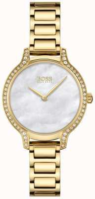 BOSS | gala | femmes | bracelet plaqué or | cadran en nacre blanche | 1502557