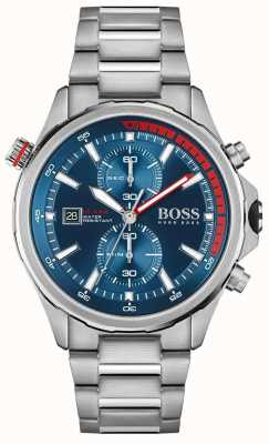 BOSS | globe-trotter | hommes | bracelet en acier inoxydable | cadran bleu | 1513823