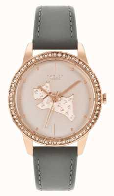 Radley Bracelet en cuir gris pour femme | cadran à motif chien en or rose RY21182