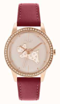 Radley Bracelet en cuir rouge pour femme | cadran à motif chien en or rose RY21184