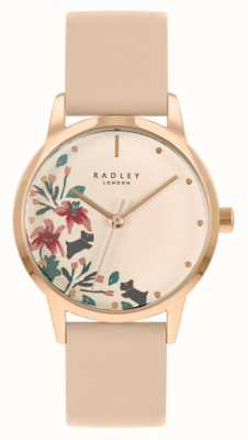 Radley Bracelet femme en cuir nude / rose clair | cadran floral crème RY21220A