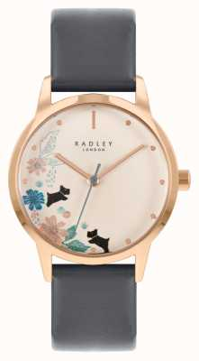 Radley Bracelet en cuir noir pour femme | cadran floral crème RY21262A