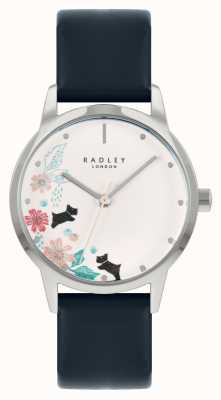 Radley Bracelet en cuir bleu pour femme | cadran floral blanc RY21229A