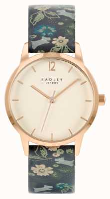 Radley Bracelet en cuir fleuri noir pour femme | cadran blanc RY21234A