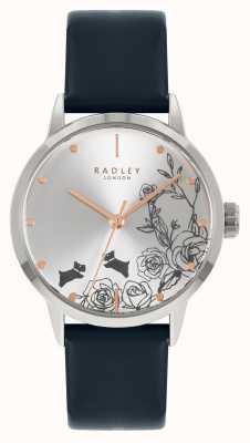 Radley Bracelet en cuir bleu pour femme | cadran argenté RY21241A