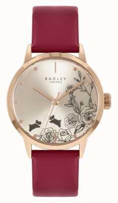 Radley Bracelet en cuir rouge pour femme | cadran argenté RY21244A