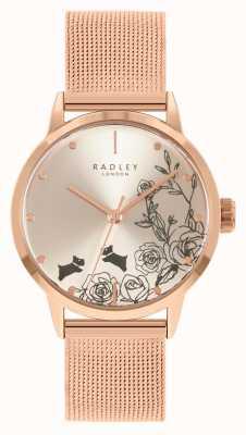 Radley Bracelet en maille or rose pour femme | cadran floral argenté RY4582A