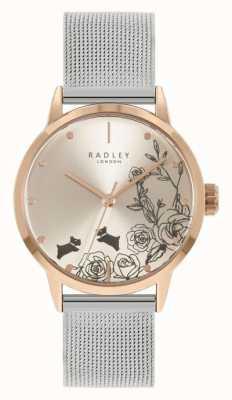 Radley Bracelet en maille d'argent en acier inoxydable pour femme | cadran floral argenté RY4581A