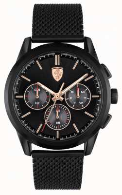 Scuderia Ferrari Grand tour | bracelet en maille noire pour homme | cadran noir 0830807