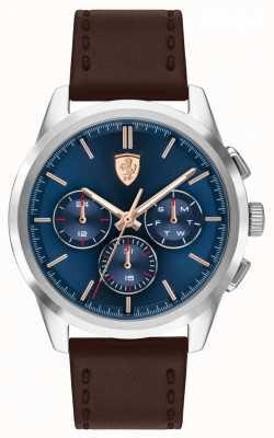 Scuderia Ferrari Grand tour | bracelet en cuir marron pour homme | cadran bleu 0830806