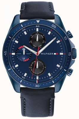 Tommy Hilfiger Parker | bracelet en cuir bleu pour homme | cadran bleu 1791839