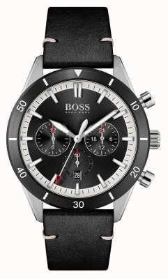 BOSS | hommes | santiago | cadran noir | bracelet en cuir noir | 1513864