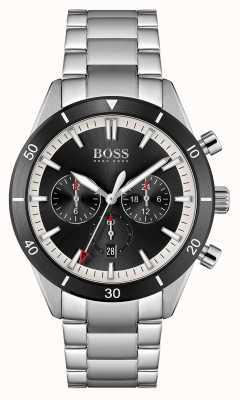 BOSS | hommes | santiago | cadran noir | bracelet en acier inoxydable | 1513862