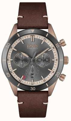 BOSS   hommes   santiago   cadran gris   bracelet en cuir marron   1513861