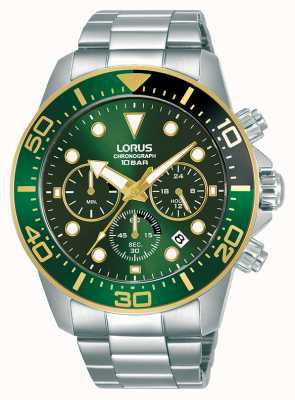 Lorus Hommes | chronographe | cadran vert | bracelet en acier inoxydable RT340JX9