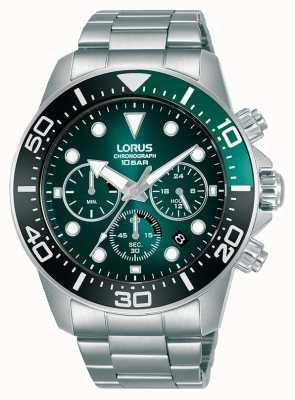 Lorus Chronographe homme | cadran vert | bracelet en acier inoxydable RT341JX9