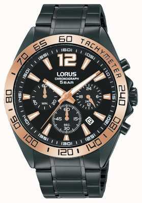 Lorus Hommes | chronographe | cadran noir | bracelet en acier ip noir RT336JX9