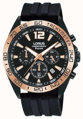 Lorus Hommes | chronographe | cadran noir | bracelet en silicone noir RT338JX9