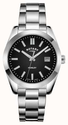 Rotary Femmes | henley | cadran noir | bracelet en acier inoxydable LB05180/04