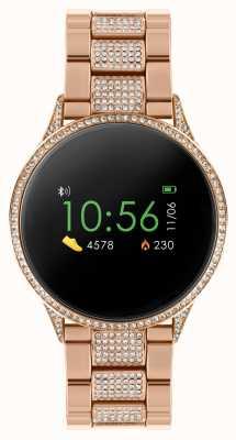 Reflex Active Montre intelligente série 4 | écran tactile couleur | bracelet en acier inoxydable or rose serti de pierres RA04-4014