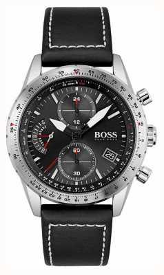 BOSS | édition pilote | hommes | bracelet en cuir noir | cadran noir | 1513853