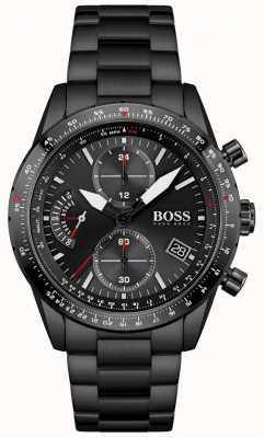 BOSS | hommes | édition pilote | bracelet noir | cadran chronographe noir | 1513854