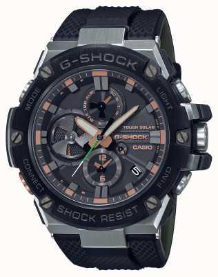 Casio Militaire de luxe en acier G | bracelet en résine noire | cadran noir | Bluetooth GST-B100GA-1AER