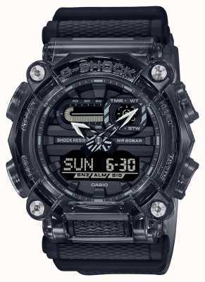 Casio G-shock | série grise squelette | bracelet en résine transparente gris foncé | cadran gris GA-900SKE-8AER