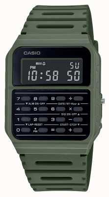 Casio Montre calculatrice rétro | bracelet en résine verte | cadran noir CA-53WF-3BEF