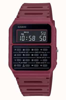 Casio Montre calculatrice rétro | bracelet en résine rouge foncé | cadran noir CA-53WF-4BEF