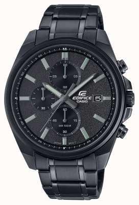 Casio Edifice tout noir ip | bracelet en acier inoxydable noir | cadran noir EFV-610DC-1AVUEF